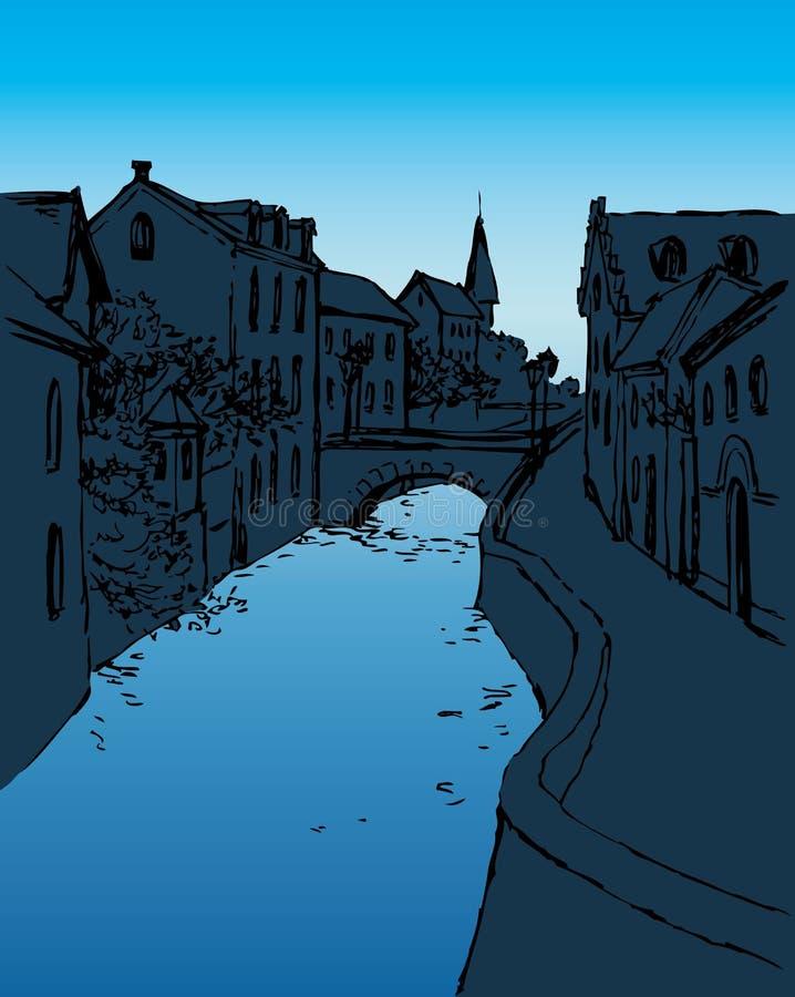 Vector o esboço da rua medieval estreita com a ponte sobre ilustração do vetor