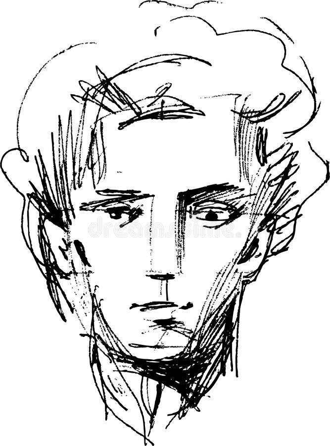 Cabeça de um homem novo ilustração stock