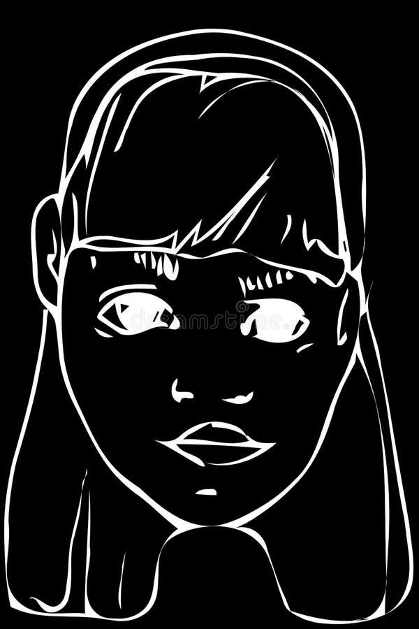 Vector o esboço de uma menina adolescente loura bonita ilustração stock