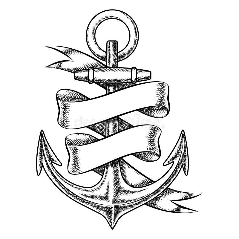 Vector o esboço tirado mão da âncora com fita vazia ilustração royalty free