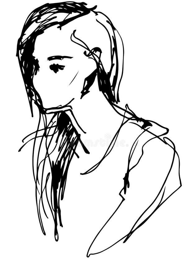 Vector o esboço um retrato de uma menina bonita ilustração stock