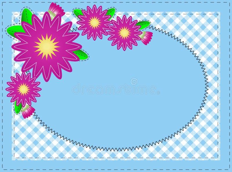 Vector o espaço azul oval da cópia do Eps 10, com costura ilustração stock