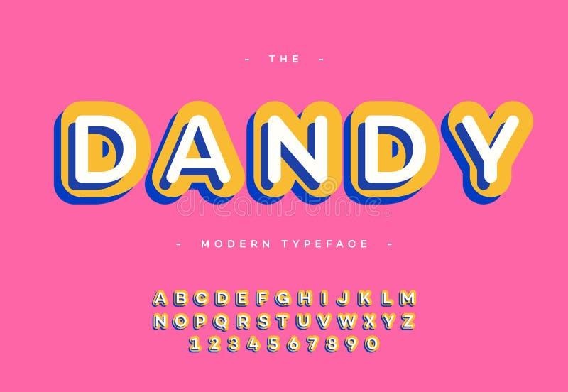 Vector o estilo colorido de Sans Serif da tipografia corajosa dândi da fonte 3d ilustração royalty free