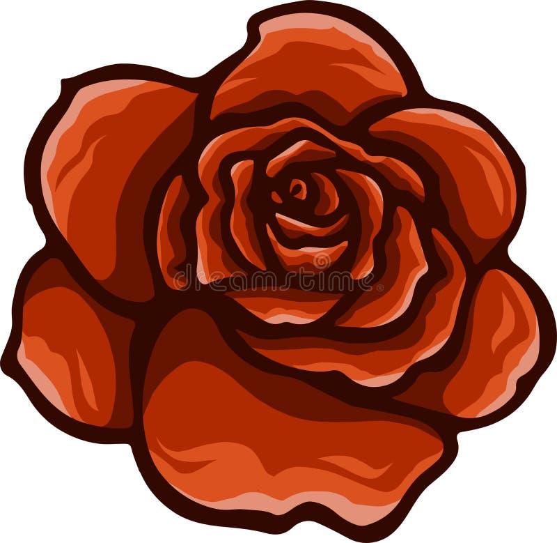 Vector o estilo dos desenhos animados da rosa do vermelho no fundo branco ilustração do vetor