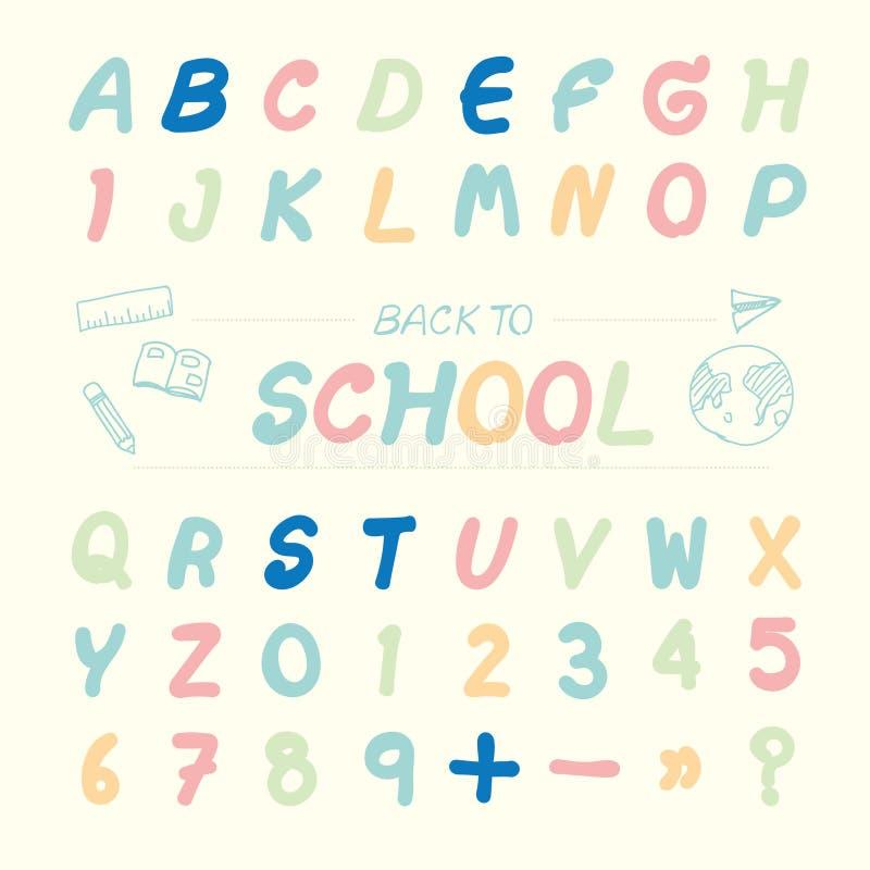 Vector o estilo esboçado alfabeto da ilustração, de volta à escola ilustração do vetor