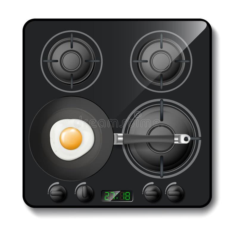 Vector o fogão de gás realístico, cooktop moderno preto ilustração do vetor