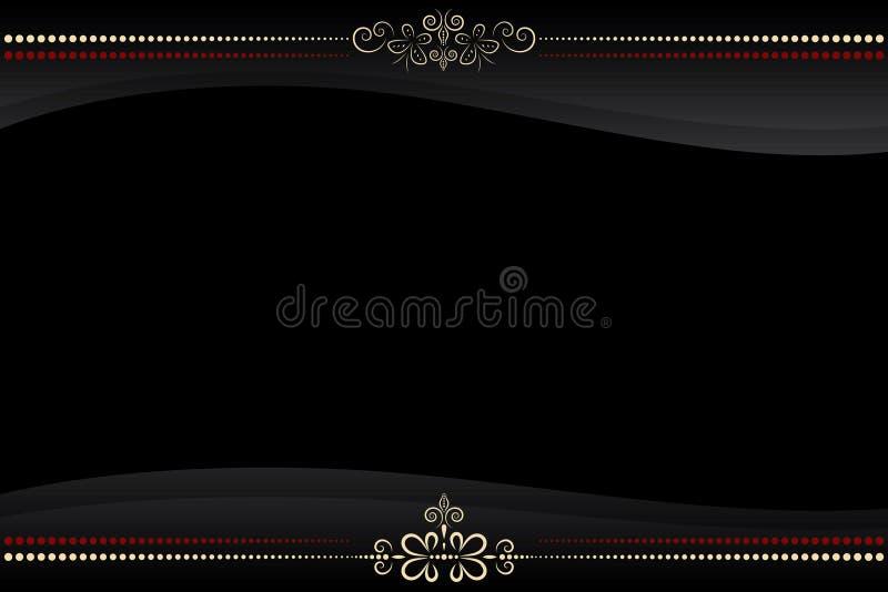 Vector o frame preto com teste padrão dourado ilustração royalty free