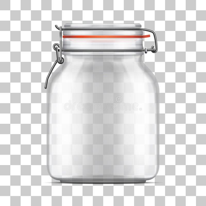 Vector o frasco de vidro do pacote vazio com a tampa da parte superior do balanço isolada no fundo transparente ilustração stock