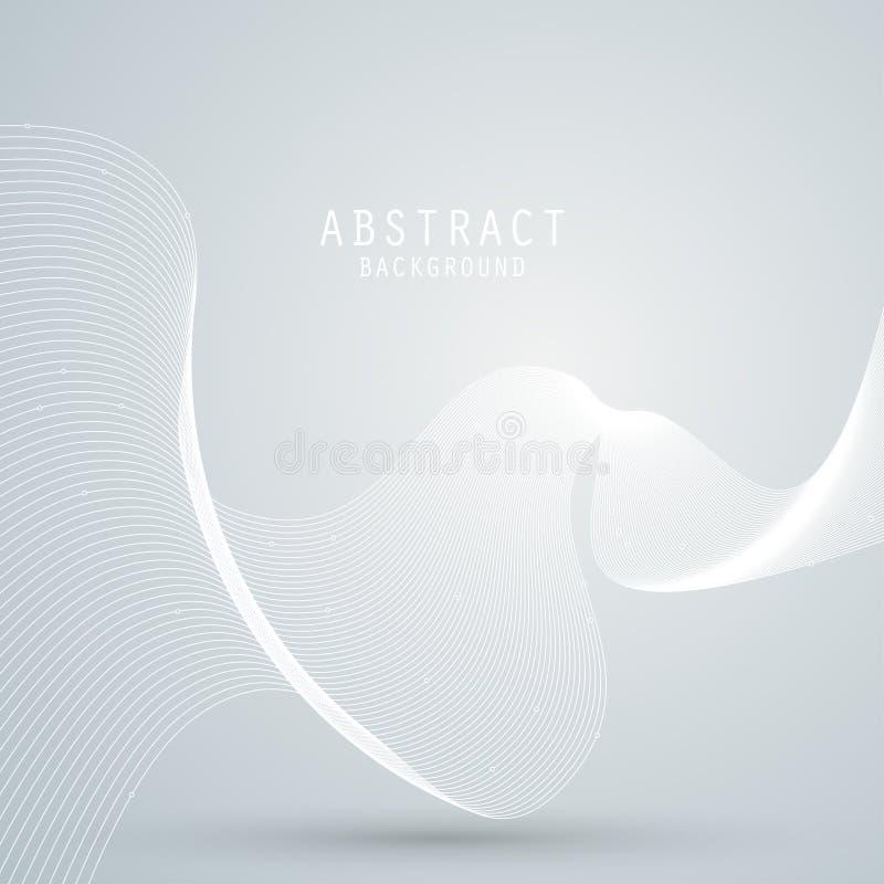 Vector o fundo abstrato com malha branca, linhas das ondas ilustração do vetor
