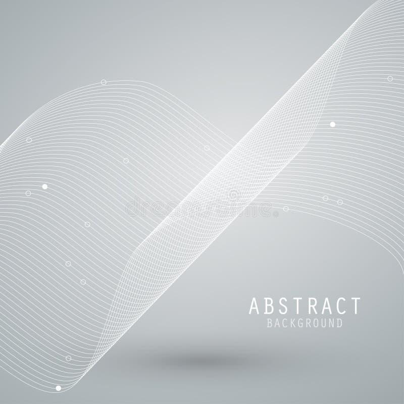 Vector o fundo abstrato com malha branca, linhas das ondas EPS10 ilustração royalty free