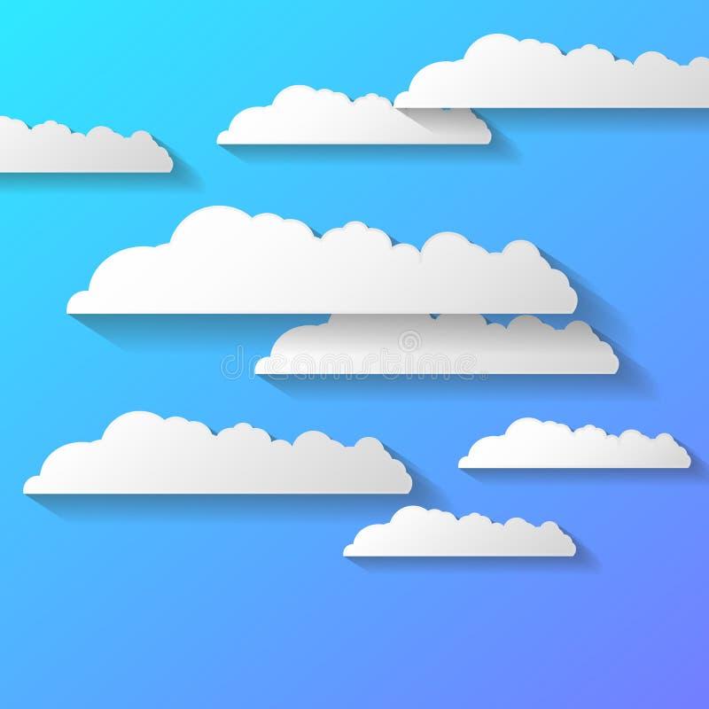 Vector o fundo abstrato composto de nuvens do Livro Branco sobre o azul EPS10 ilustração royalty free