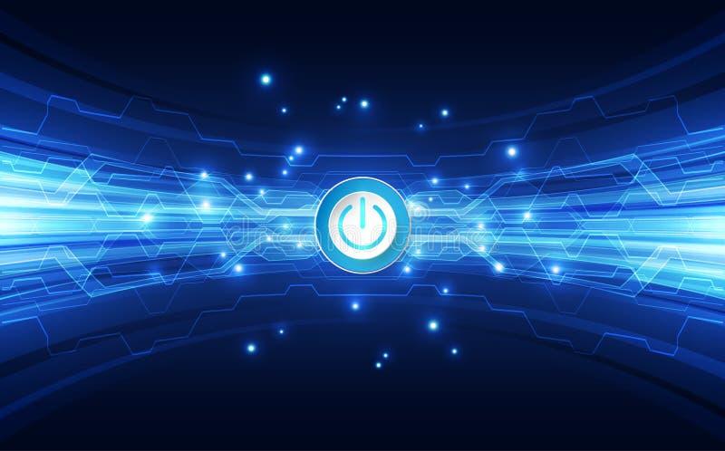 Vector o fundo azul alto futurista da cor da tecnologia digital do poder abstrato do botão, Web da ilustração ilustração royalty free