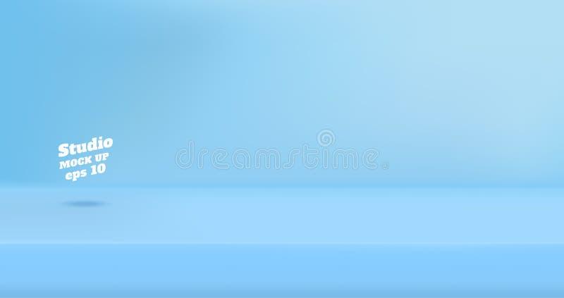 Vector o fundo azul pastel vazio da sala da tabela do estúdio da cor, pro ilustração royalty free