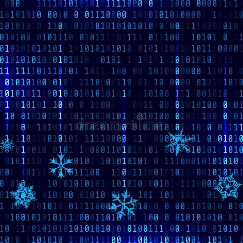 Vector o fundo binário do estilo da matriz com flocos de neve de queda ilustração stock