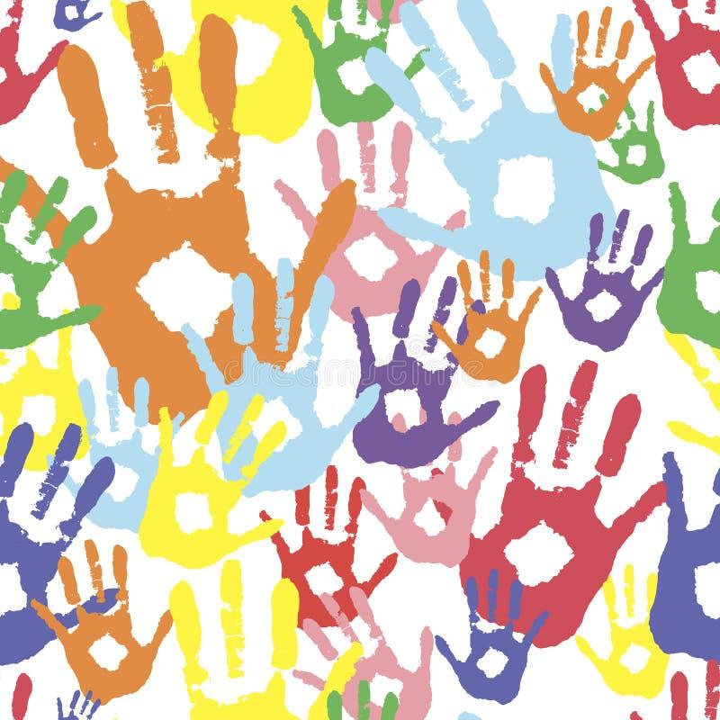 Vector o fundo, cópias de cor das mãos simboliza a amizade palmas coloridas na pintura ilustração do vetor