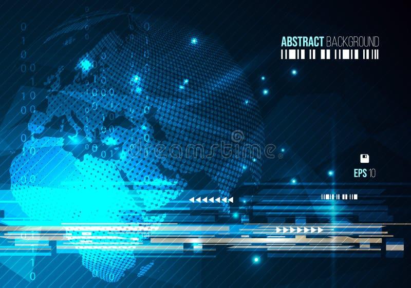 Vector o fundo colorido abstrato com o globo pontilhado no co azul ilustração royalty free