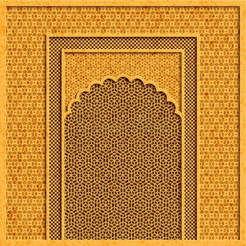 Vector o fundo com arquitetura indiana tradicional e os ornamento dourados ilustração do vetor
