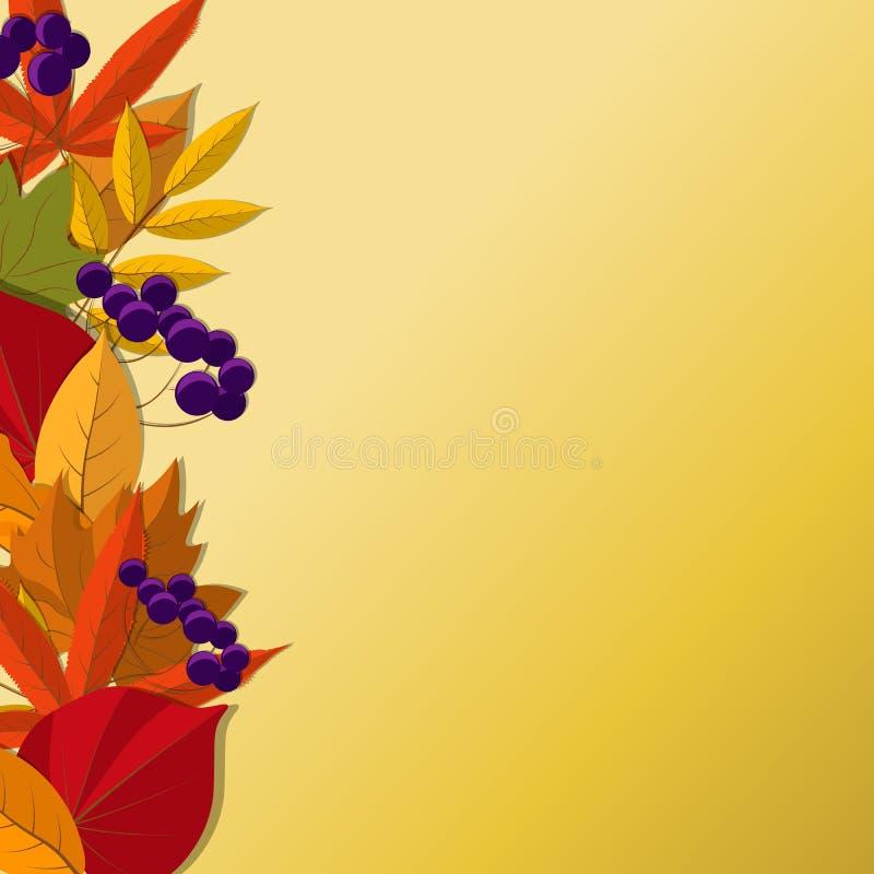 Vector o fundo com as folhas de outono de queda vermelhas, alaranjadas, marrons e amarelas ilustração stock