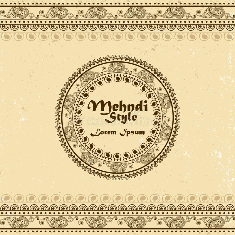 Vector o fundo com beiras tiradas mão e o quadro no estilo do indiano do mehndi Coleção de escovas do teste padrão para dentro ilustração royalty free