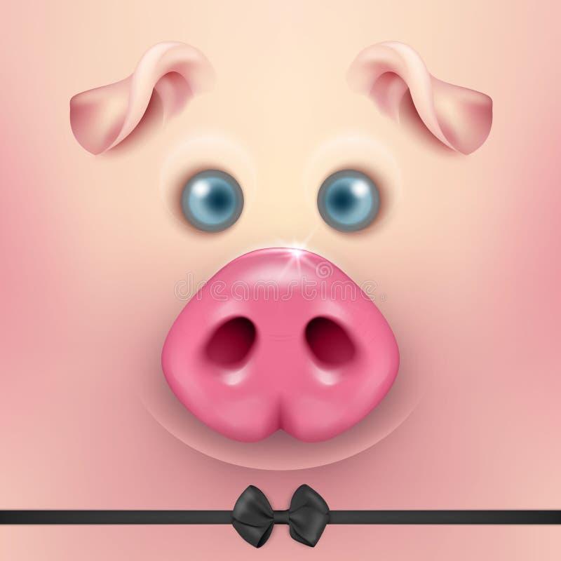 Vector o fundo com a cara engraçada do porco dos desenhos animados 3d com close up do laço Animal de exploração agrícola bonito I ilustração stock
