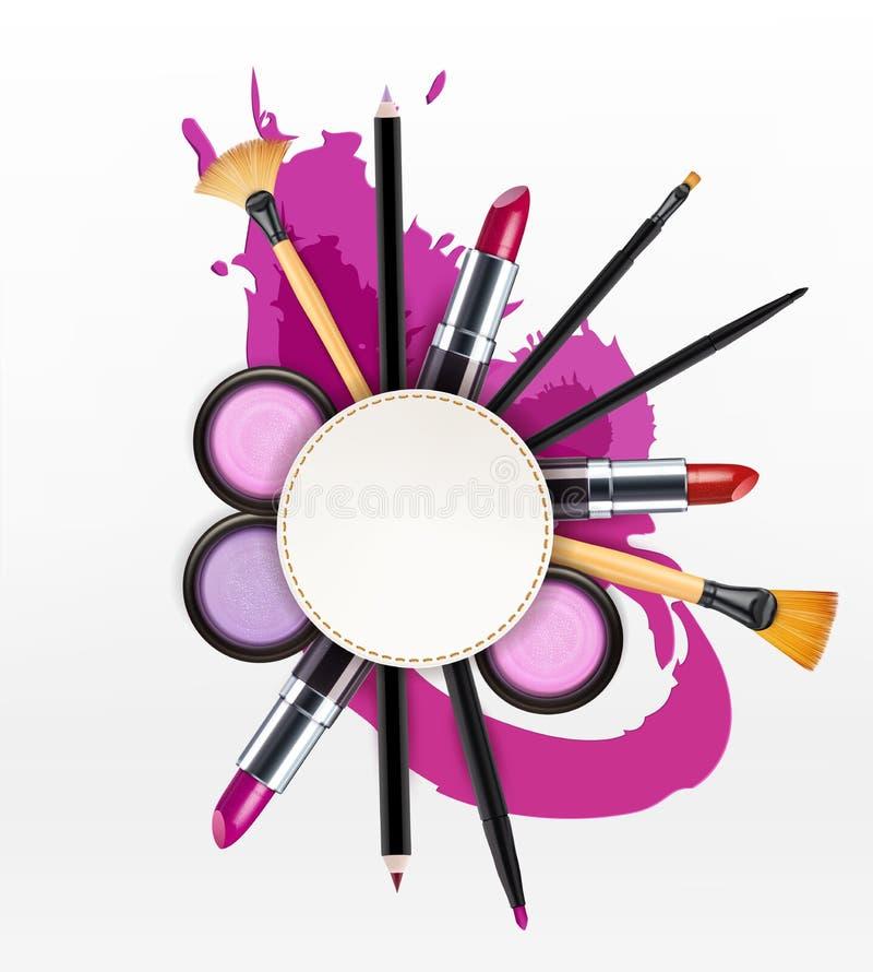 Vector o fundo com cosméticos e objetos da composição e coloque f ilustração do vetor