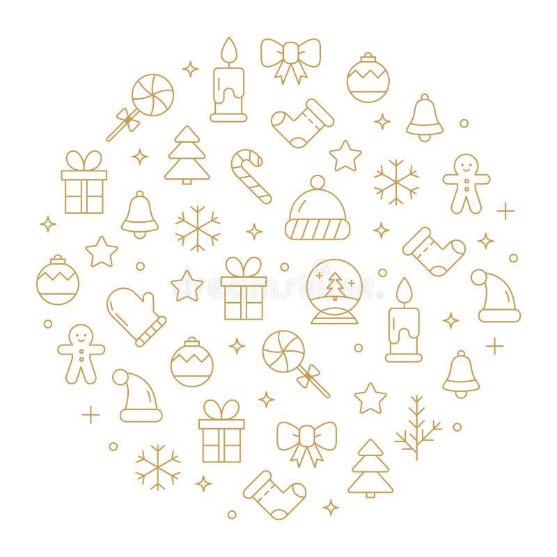 Vector o fundo com elementos diferentes do Natal e da celebração do ano novo ilustração stock
