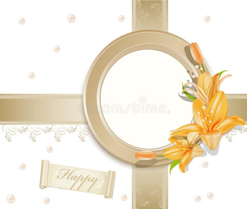Vector o fundo com frame da foto, lírios ilustração royalty free