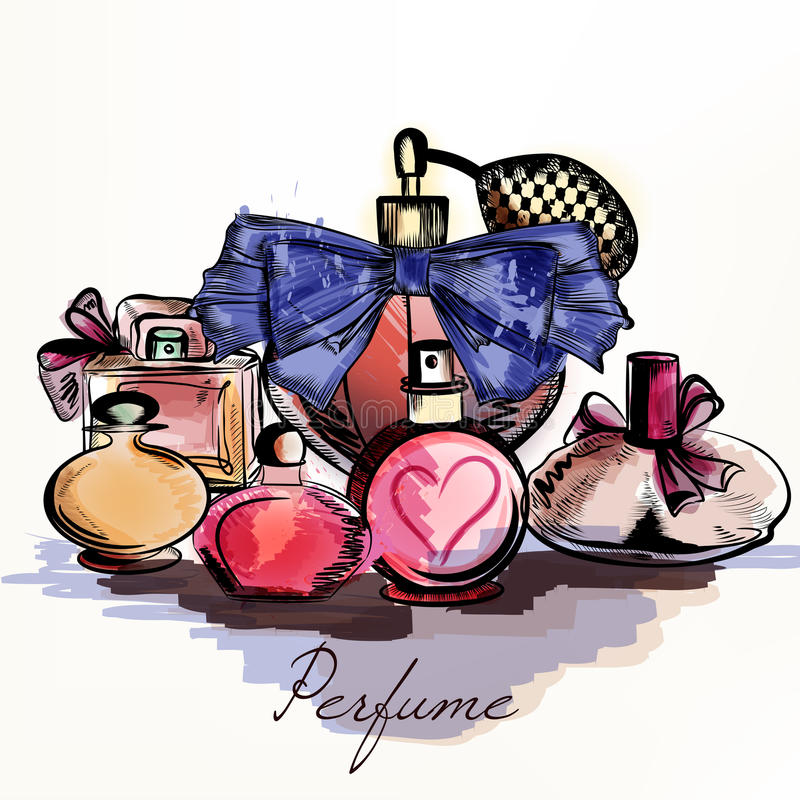 Vector o fundo com os perfumes tirados no estilo da aquarela seleto ilustração stock
