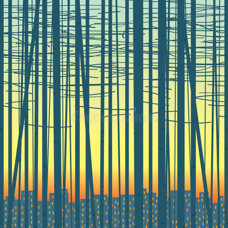 Vector o fundo com um bosque contra a cidade ilustração royalty free