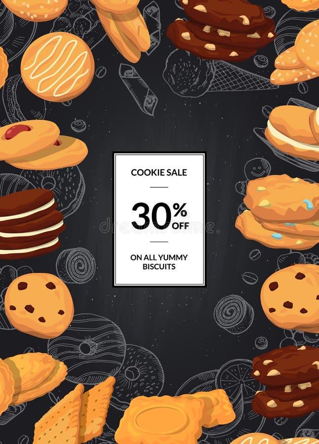 Vector o fundo da venda com as cookies dos desenhos animados no quadro preto com lugar para o texto ilustração stock
