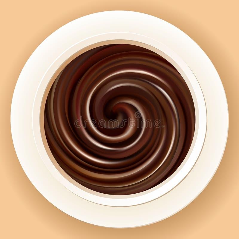 Vector o fundo de chocolate quente misturado em uma bacia ilustração do vetor