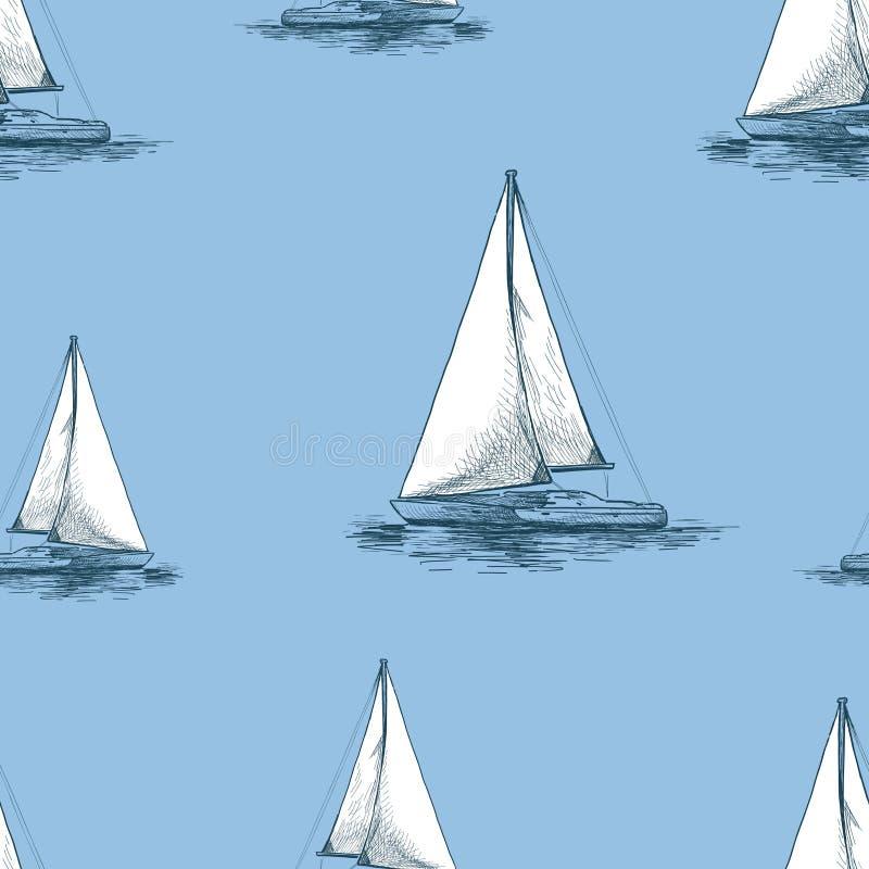 Vector o fundo de iate da navigação no mar ilustração stock