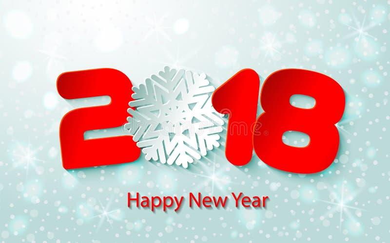 Vector o fundo 2017 do ano novo feliz com cortes de papel ilustração royalty free