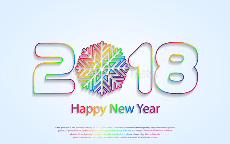 Vector o fundo 2018 do ano novo feliz com cortes de papel ilustração stock