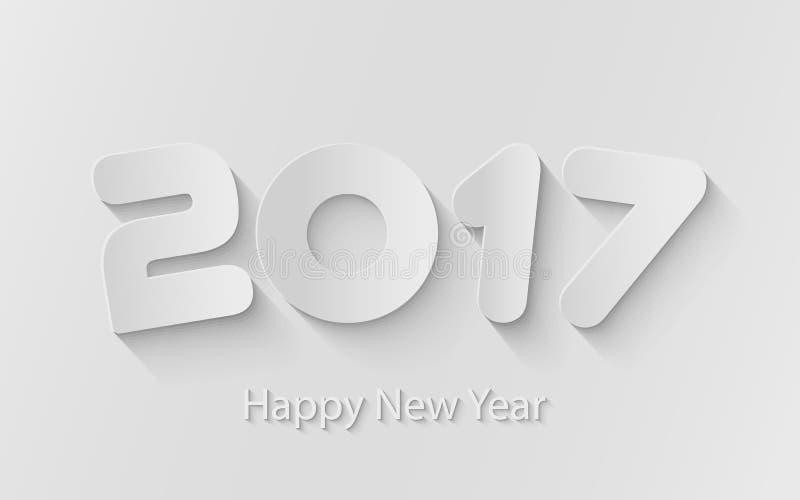 Vector o fundo 2017 do ano novo feliz com cortes de papel ilustração do vetor