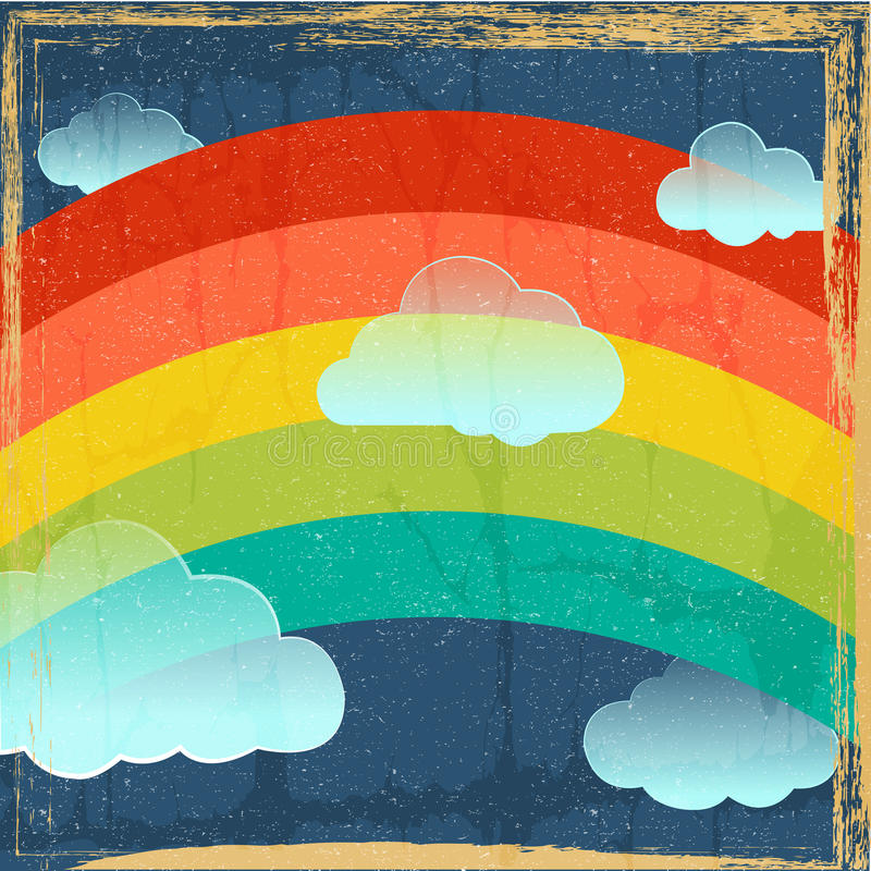 Vector o fundo do arco-íris do vintage ilustração stock