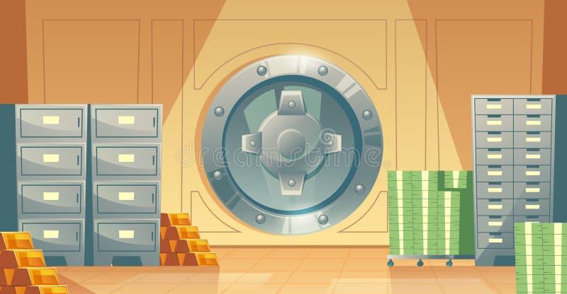 Vector o fundo do cofre-forte de banco com dinheiro, ouro ilustração do vetor