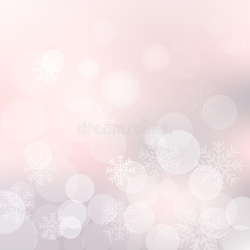Vector o fundo do Natal com flocos de neve e luzes brilhantes do bokeh ilustração do vetor