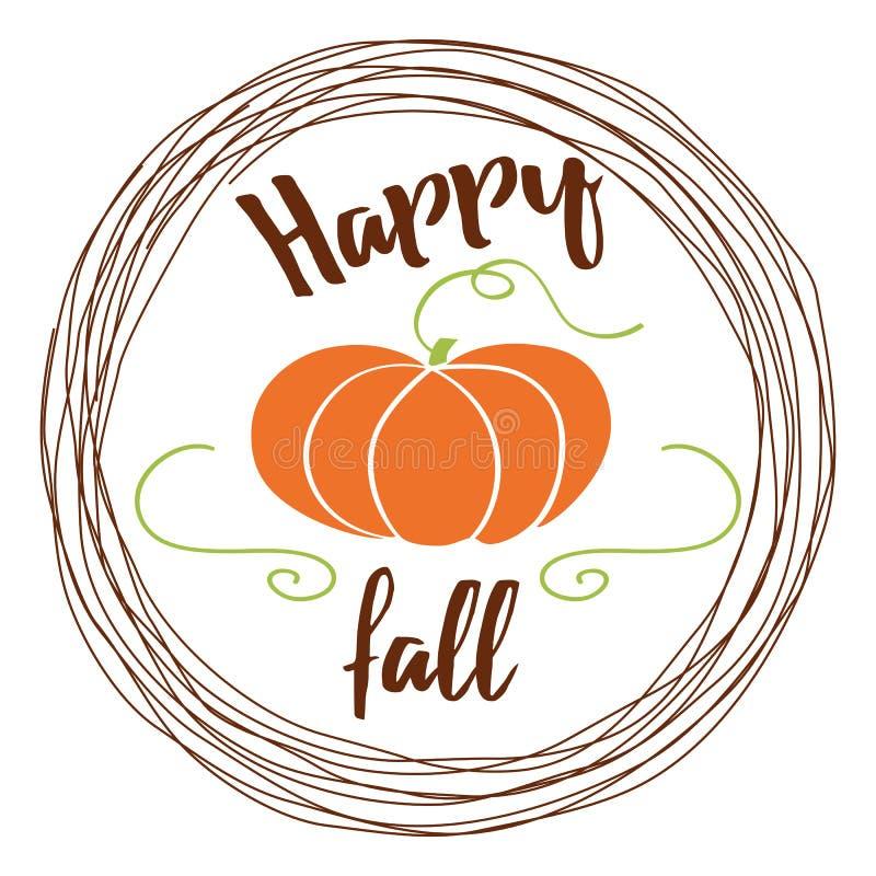 Vector o fundo do outono com queda da abóbora e do texto olá! no quadro do ircle do  de Ñ no fundo branco ilustração stock