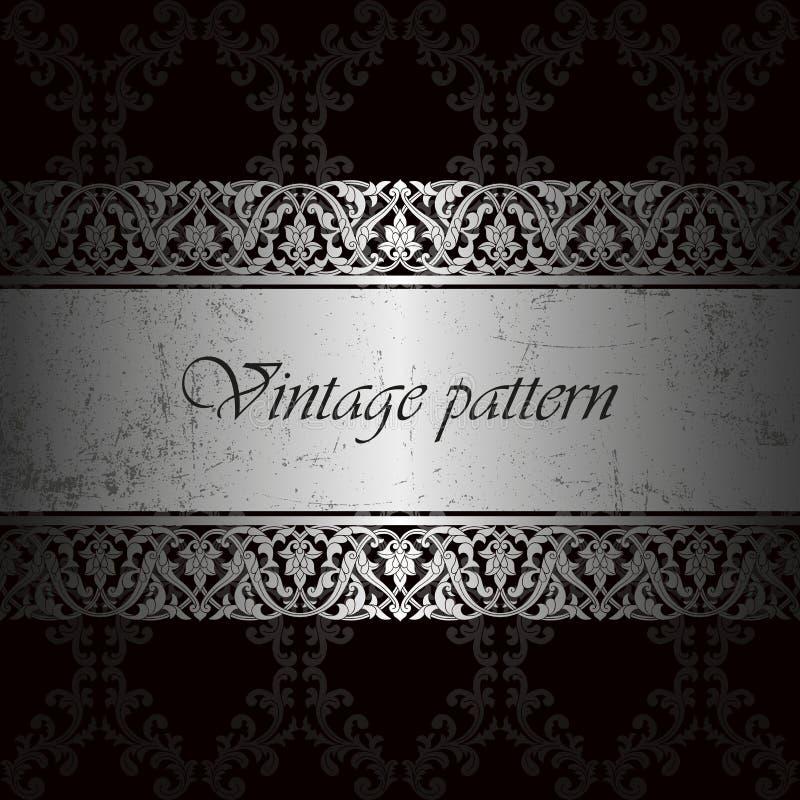 Vector o fundo do vintage para o texto da inserção, teste padrão floral do damasco luxuoso na prata, molde com metal riscado ilustração royalty free