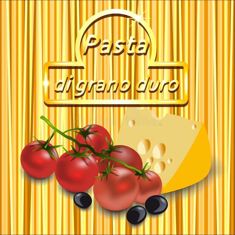 Vector o fundo dos espaguetes com logotipo do ouro, tomates de cereja ilustração do vetor
