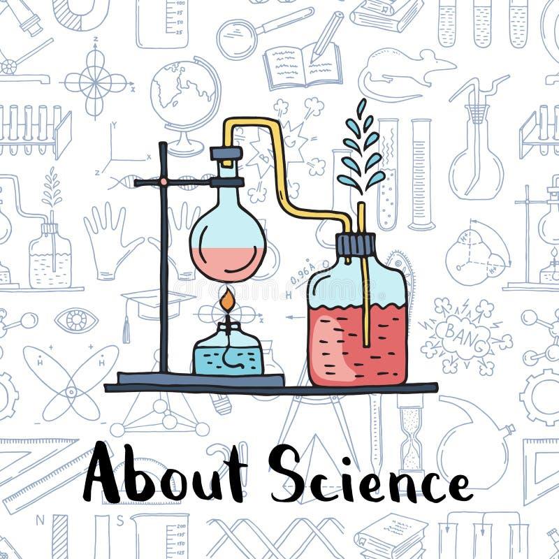 Vector o fundo esboçado dos elementos da ciência dos elementos da ciência ou da química ilustração do vetor
