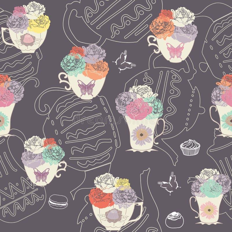 Vector o fundo escuro do teste padrão sem emenda das xícaras de chá e dos bules do vintage com borboletas, bolos e flores ilustração do vetor