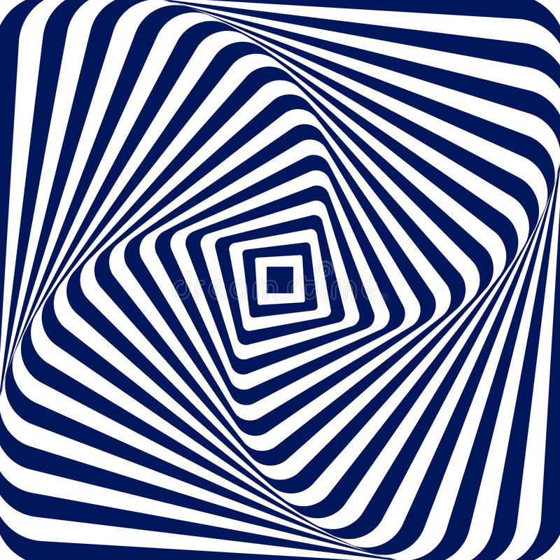 Vector o fundo geométrico branco azul da ilustração de aumentar e de girar um quadrado com cantos arredondados, criando ilustração stock