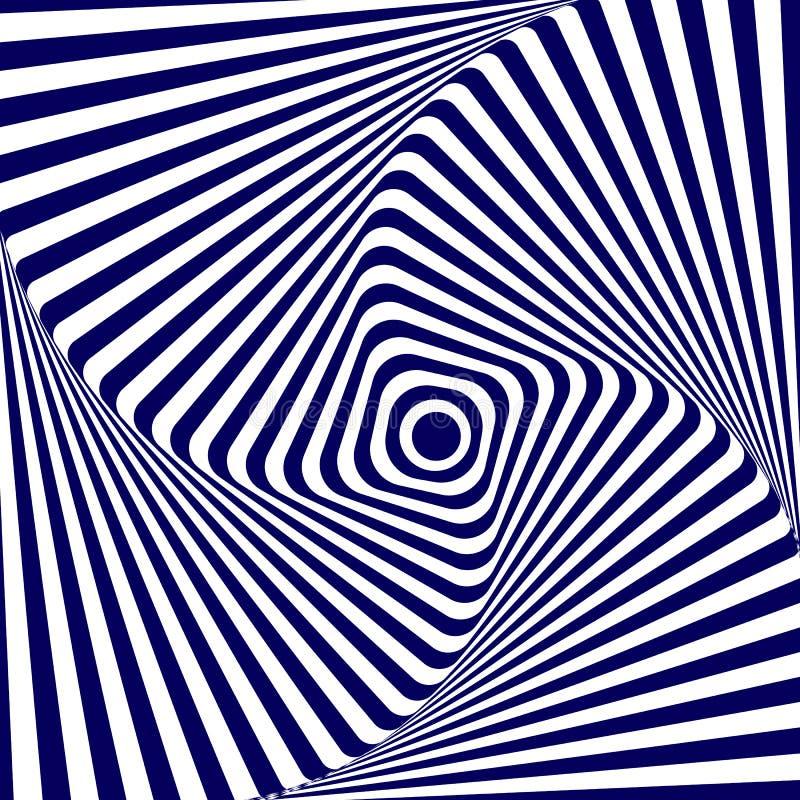 Vector o fundo geométrico branco azul da ilustração de aumentar e de girar um quadrado com cantos arredondados, criando um ótico ilustração royalty free