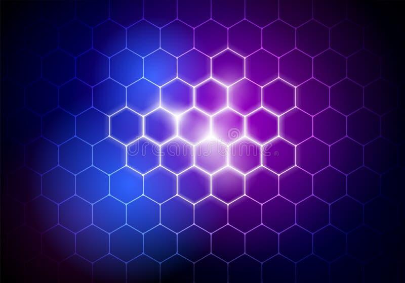 Vector o fundo grande futurista abstrato do hexágono dos dados da ilustração, elemento de HUD, conceito da tecnologia ilustração stock