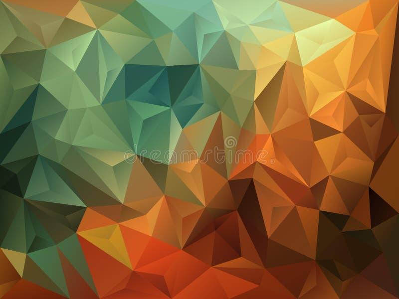 Vector o fundo irregular do polígono com um teste padrão do triângulo na cor verde do vintage, marrom e alaranjada outonal ilustração stock
