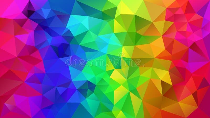 Vector o fundo poligonal irregular - baixo teste padrão poli do triângulo - espectro completo da cor do arco-íris ilustração stock