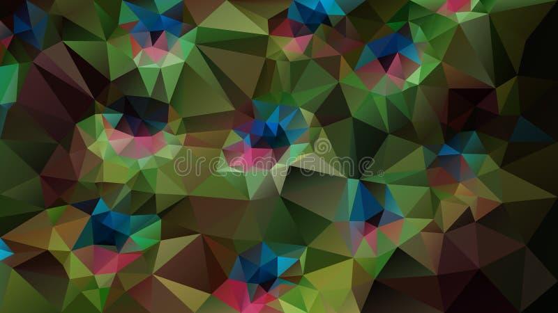 Vector o fundo poligonal irregular - baixo teste padrão poli do triângulo - máscaras da pena do pavão de verde, de cor-de-rosa, o ilustração royalty free