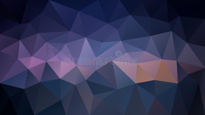Vector o fundo poligonal irregular - baixo teste padrão poli do triângulo - roxo escuro, azul de céu noturno e preto cor ilustração do vetor